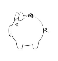 monochrome sketch of piggy bank vector image