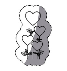 monochrome sticker silhouette with floral branch vector image