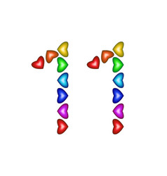 Number 11 eleven made of colorful hearts on white vector