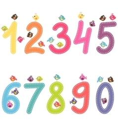numbers from zero to nine with birds vector image