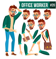 office worker face emotions gestures vector image
