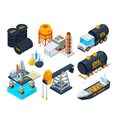 Oil and gas petroleum refining isometric pictures vector
