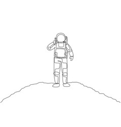 One single line drawing cosmonaut calling his vector