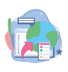 Online education computer world study class vector
