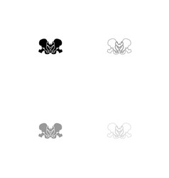 Pelvis skeleton black and grey set icon vector
