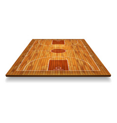Perspective basketball court floor with line on vector