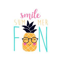 Pineapple print design with live aloha slogan vector