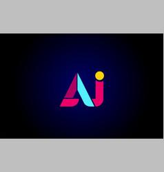 Pink blue alphabet letter aj a j combination vector