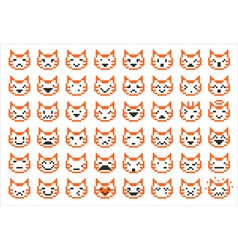 pixel cat faces vector image