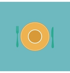 Plate dish with fork and knife vector image