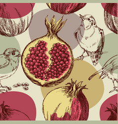 Pomegranate pattern cute seamless pattern vector