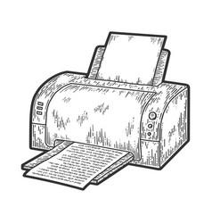 Printer printing sketch vector