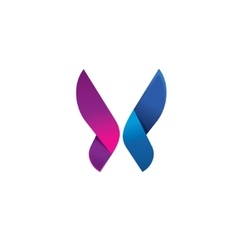 Purple butterfly logo modern beauty vector image