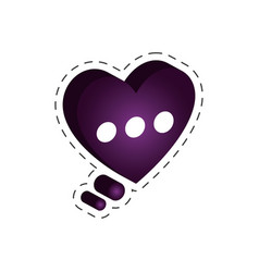 purple heart speech bubble icon vector image
