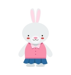 Rabbit In Blue Skirt And Pink Top Cute Toy Baby vector
