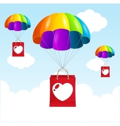 rainbow parachute love concept vector image