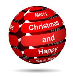 red abstract christmas ball vector image