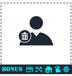 Remove contact icon flat vector