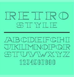 Retro minimal font set latin letters and numbers vector