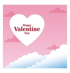 Romantic card happy valentine day pink sky and vector