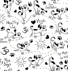 Seamless pattern with dog doing yoga position vector