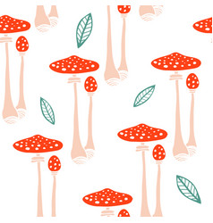 Seamless pattern with forest mushrooms vector