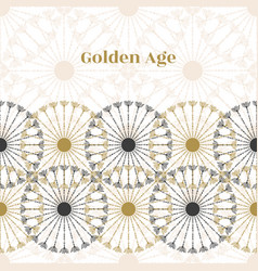 seamless vintage border black and gold circle vector image vector image