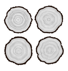 set black and white wooden cuts vector image