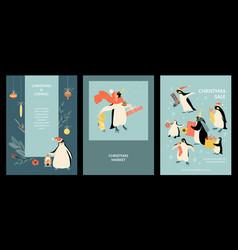 set christmas cards and christmas market vector image