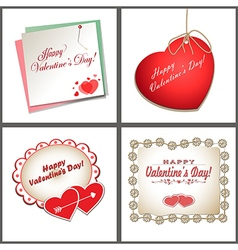 Set of cards with hearts vector