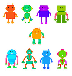 set of colored robots in cartoon style vector image