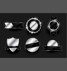 set shiny silver labels and badges design vector image