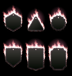 set six frames surrounded with pink flame vector image