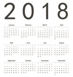 Simple european square calendar 2018 vector