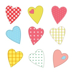 Stitched hearts vector image