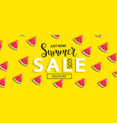 summer sale watermelon banner on yellow background vector image