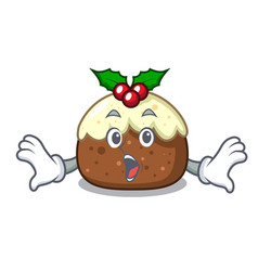 surprised fruit cake mascot cartoon vector image