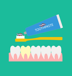 teeth and toothpaste vector image