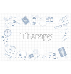 therapy stuff on squared notebook paper background vector image