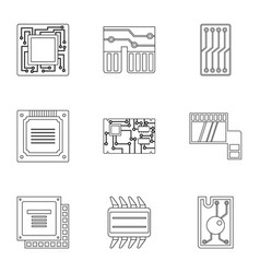 transistor icons set outline style vector image