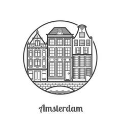 Travel amsterdam icon vector
