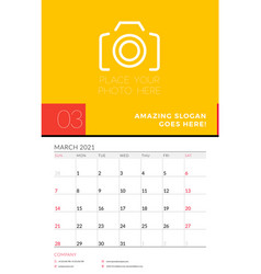 Wall calendar planner template for march 2021 vector