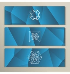 White geometric shapes on a triangular background vector image
