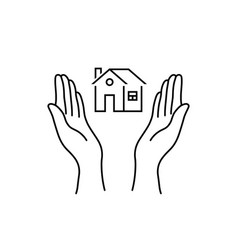 woman hands like real estate insurance vector image