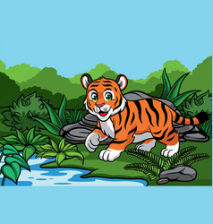 Young tiger in the jungle vector