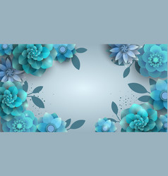 background with paper blue flowers vector image vector image