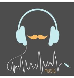 Blue headphones with cord Orange moustaches vector image
