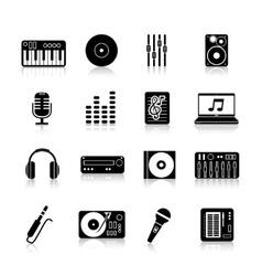 Dj Icons Black Set vector image vector image