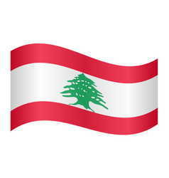 flag of lebanon waving on white background vector image vector image