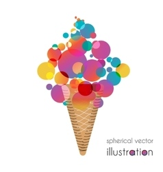 Ice cream with colored balls vector image vector image
